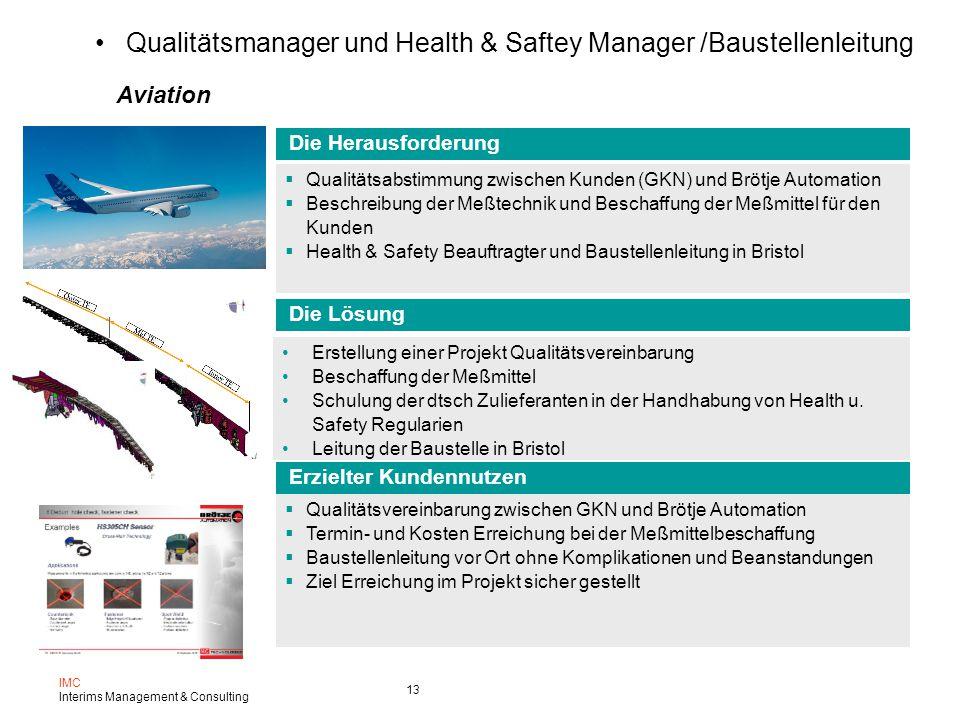 Qualitätsmanager und Health & Saftey Manager /Baustellenleitung