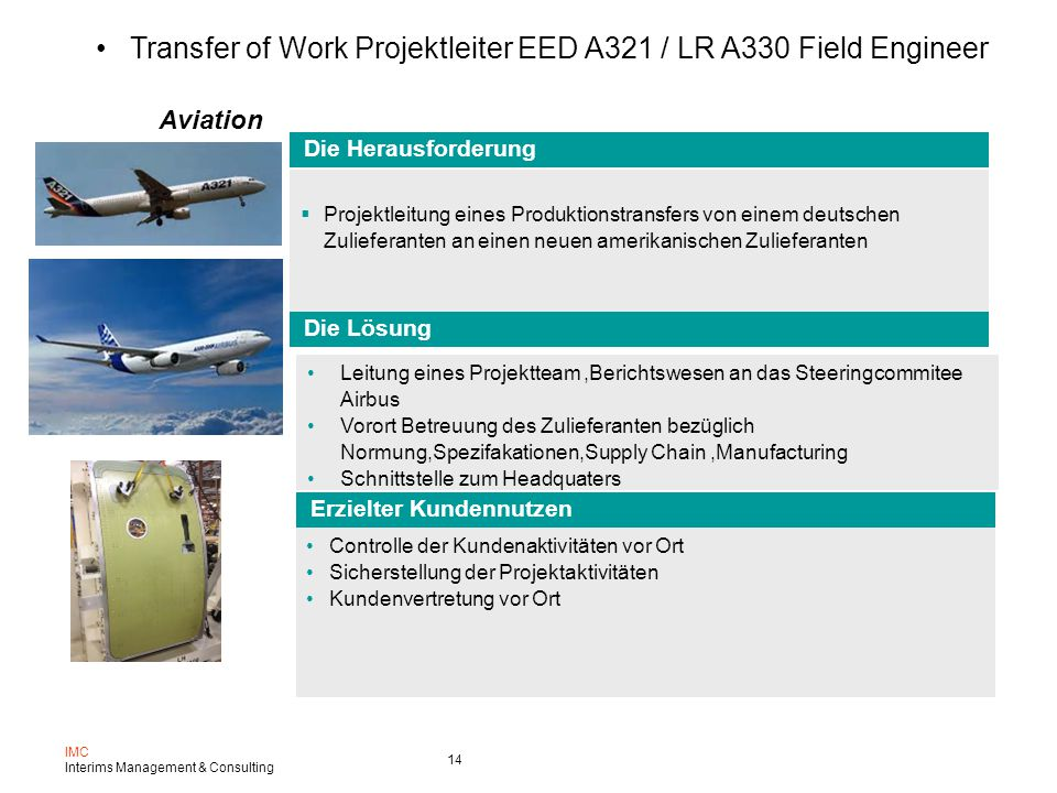 Transfer of Work Projektleiter EED A321 / LR A330 Field Engineer
