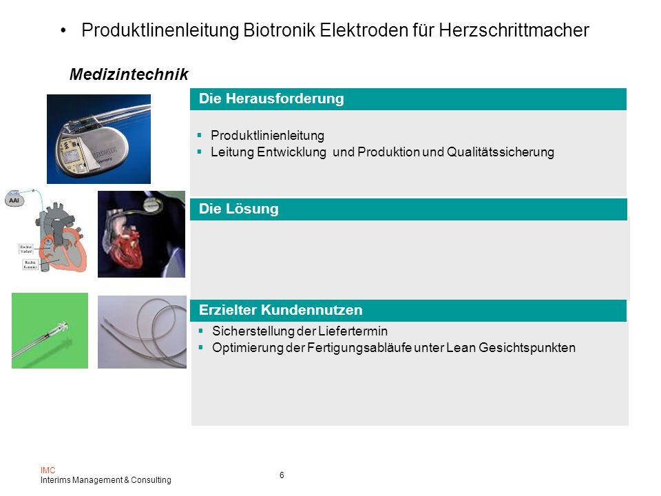 Produktlinenleitung Biotronik Elektroden für Herzschrittmacher