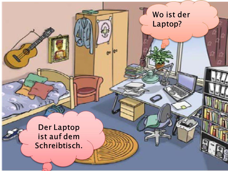 Der Laptop ist auf dem Schreibtisch.