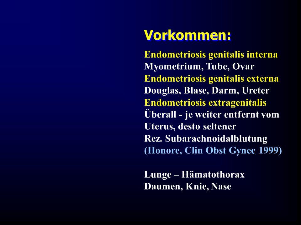 Vorkommen: Endometriosis genitalis interna Myometrium, Tube, Ovar