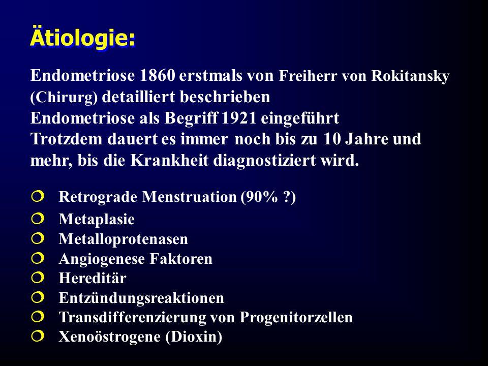 Ätiologie: Endometriose 1860 erstmals von Freiherr von Rokitansky