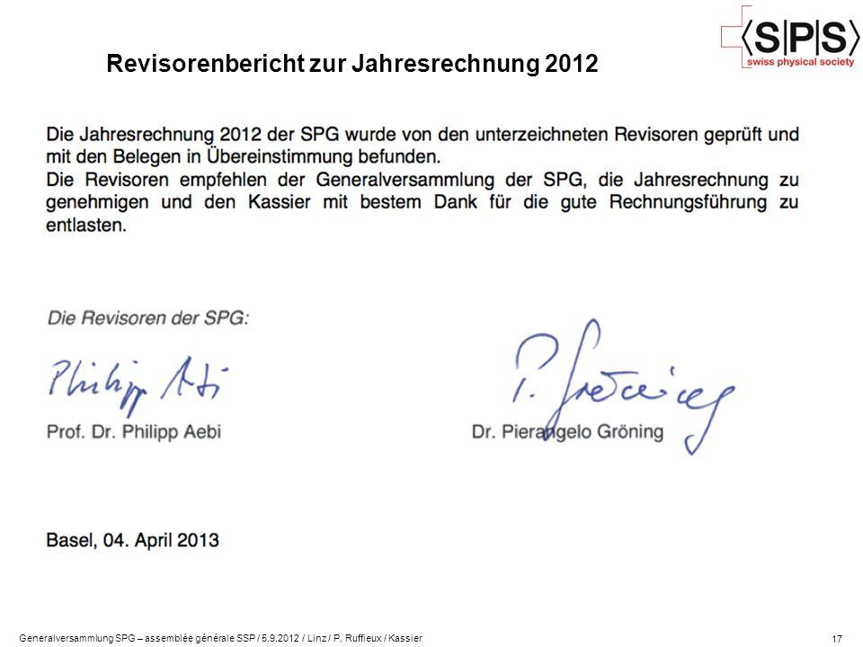 Revisorenbericht zur Jahresrechnung 2012