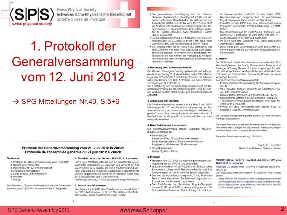 1. Protokoll der Generalversammlung vom 12. Juni 2012