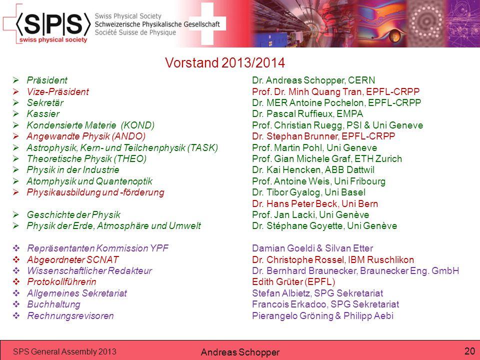 Vorstand 2013/2014 Präsident Dr. Andreas Schopper, CERN