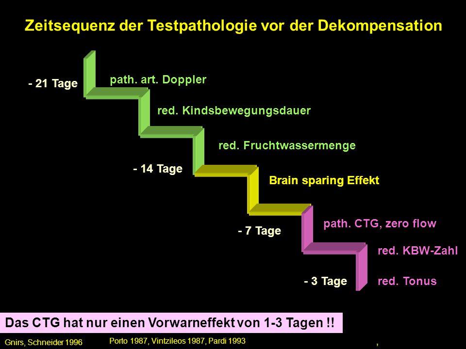 Zeitsequenz der Testpathologie vor der Dekompensation