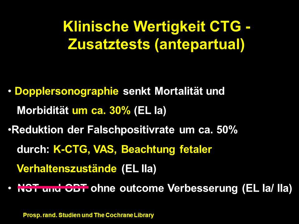 Klinische Wertigkeit CTG - Zusatztests (antepartual)