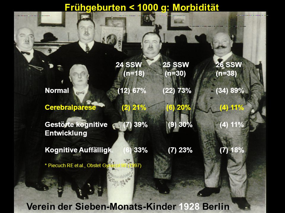 Frühgeburten < 1000 g: Morbidität