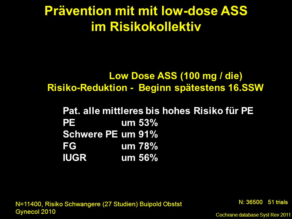 Prävention mit mit low-dose ASS im Risikokollektiv