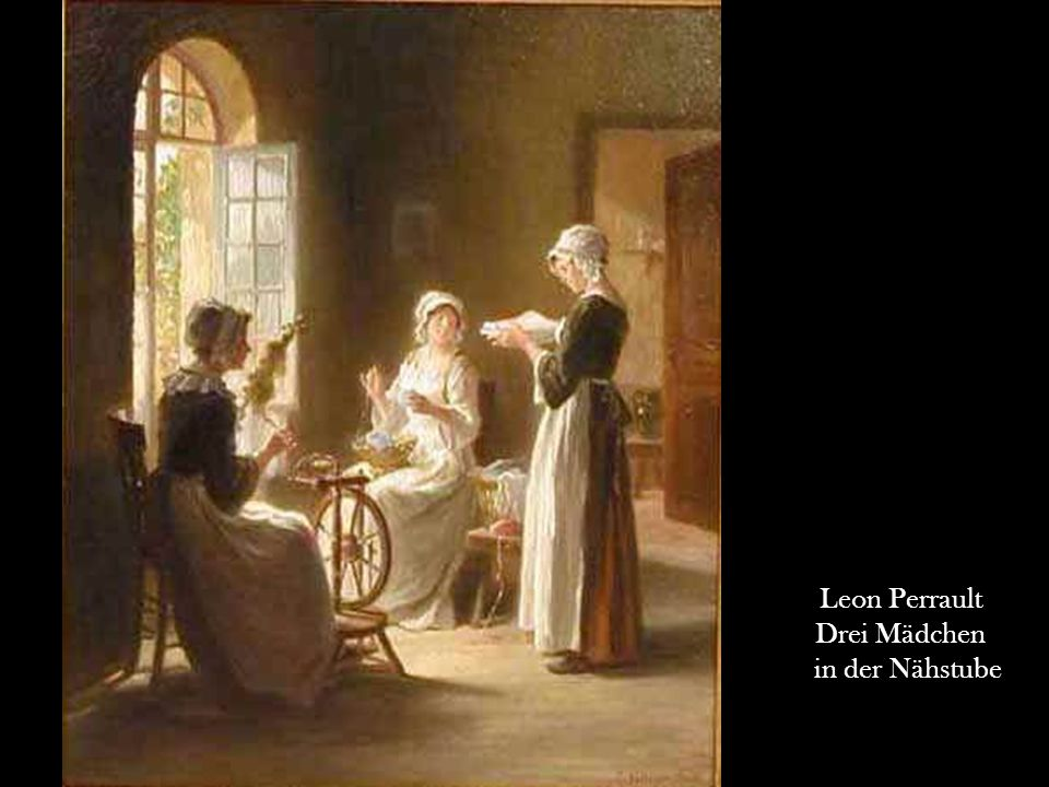 Leon Perrault Drei Mädchen in der Nähstube 20
