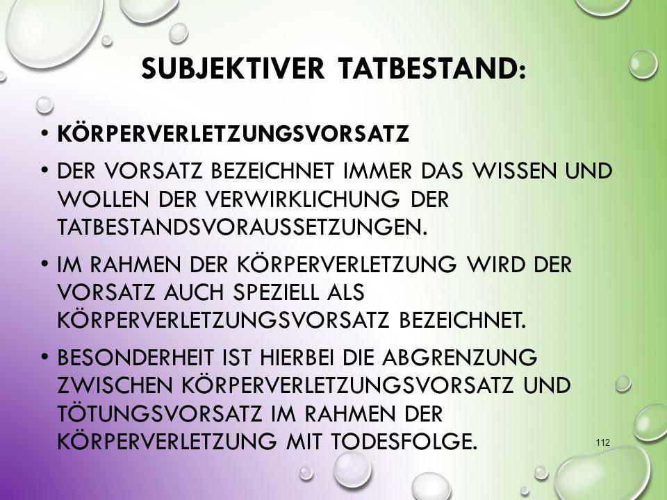 Subjektiver Tatbestand: