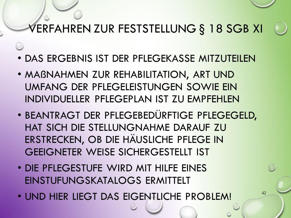 Verfahren zur Feststellung § 18 SGB XI