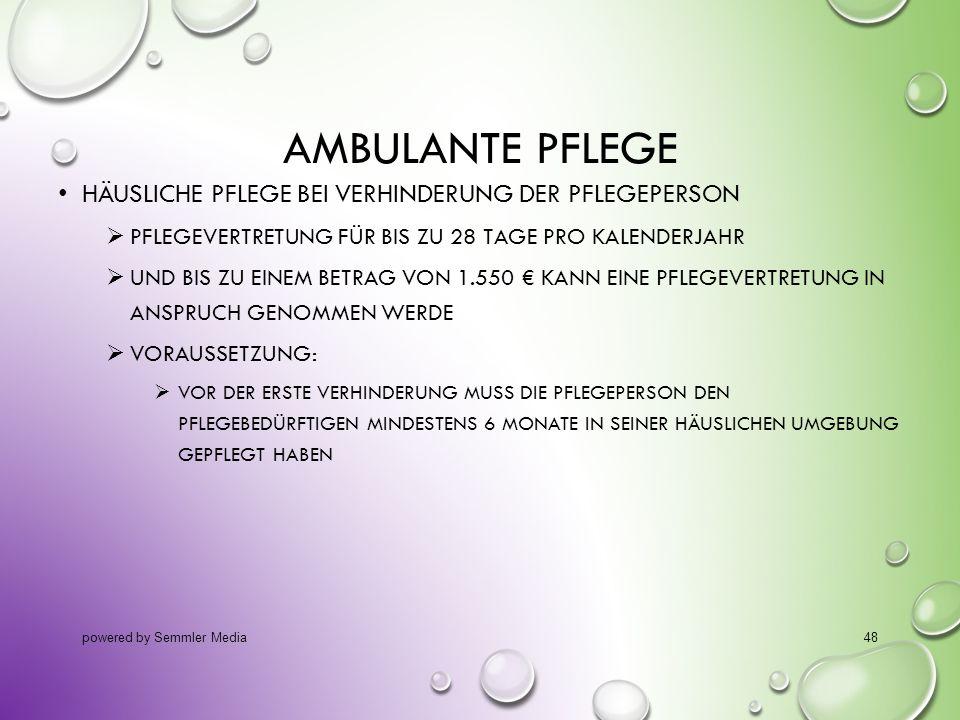 Ambulante Pflege Häusliche Pflege bei Verhinderung der Pflegeperson