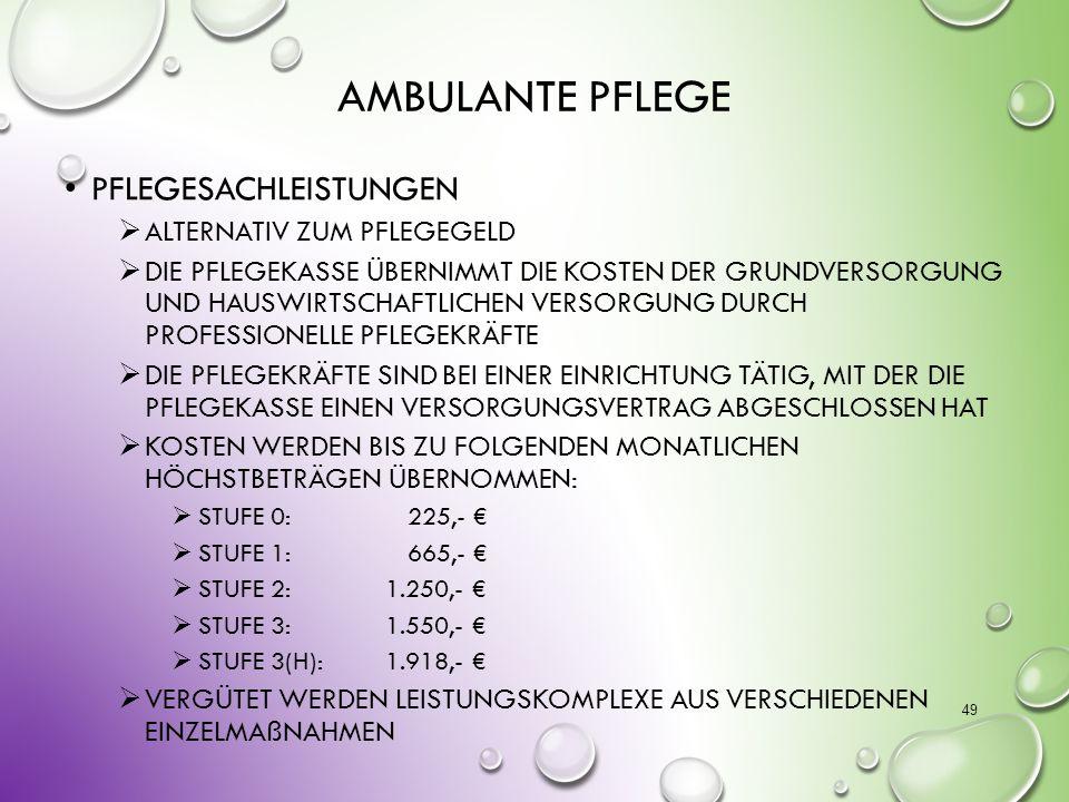 Ambulante Pflege Pflegesachleistungen alternativ zum Pflegegeld