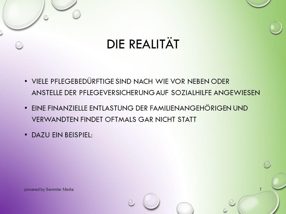 14.10.2013 Die Realität. viele Pflegebedürftige sind nach wie vor neben oder anstelle der Pflegeversicherung auf Sozialhilfe angewiesen.
