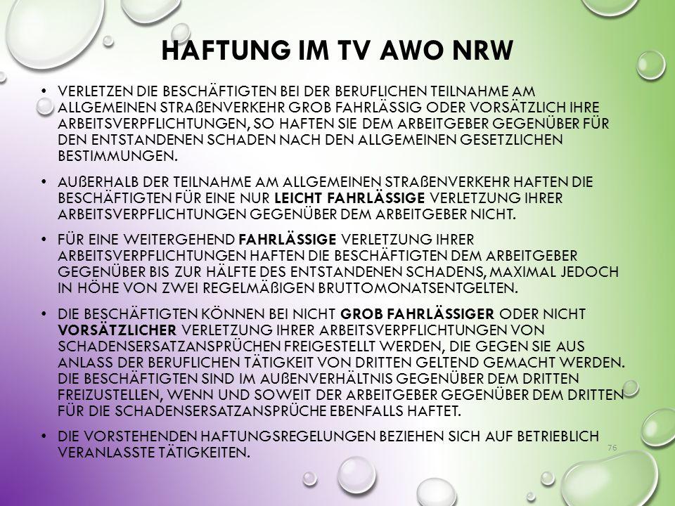 Haftung im TV AWO NRW