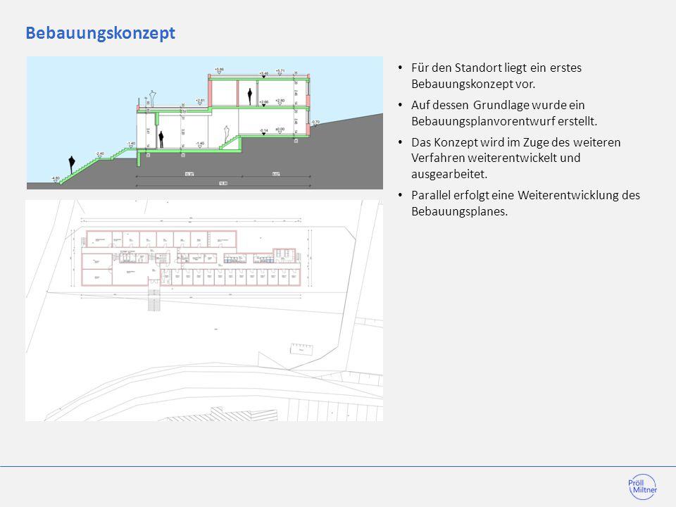 Bebauungskonzept Für den Standort liegt ein erstes Bebauungskonzept vor. Auf dessen Grundlage wurde ein Bebauungsplanvorentwurf erstellt.