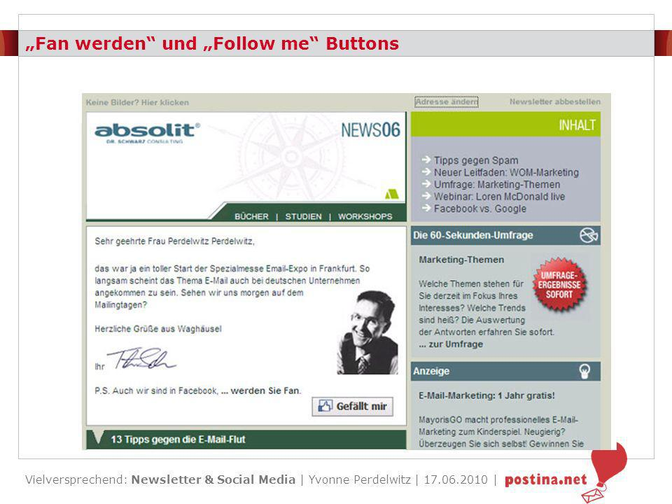"""""""Fan werden und """"Follow me Buttons"""