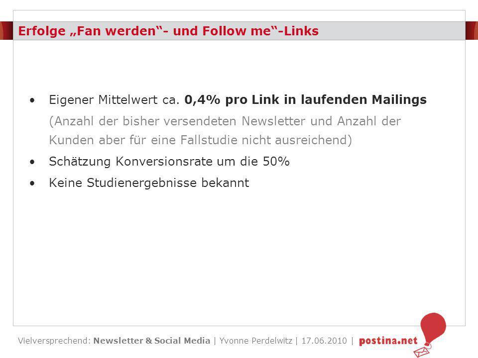 """Erfolge """"Fan werden - und Follow me -Links"""