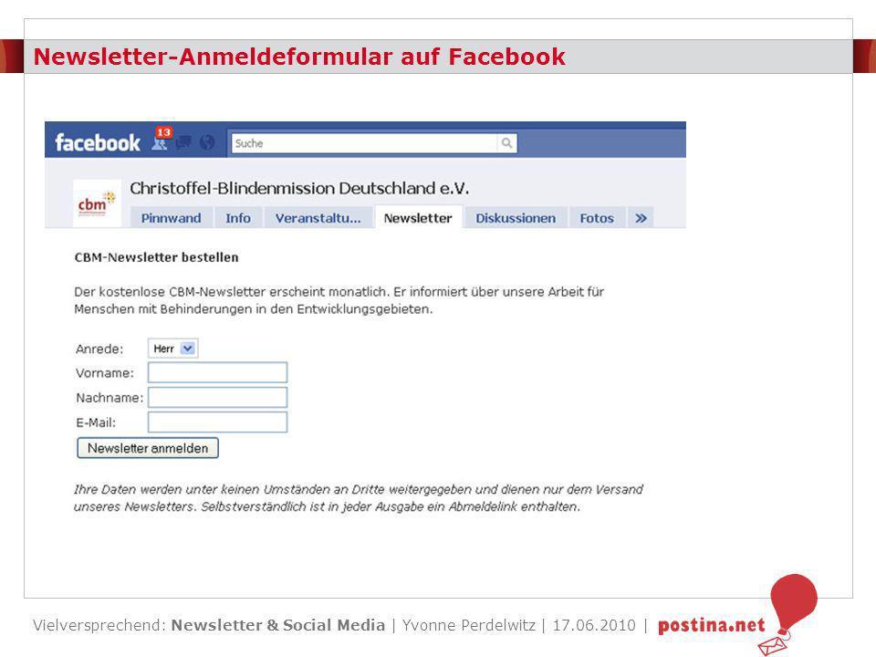 Newsletter-Anmeldeformular auf Facebook