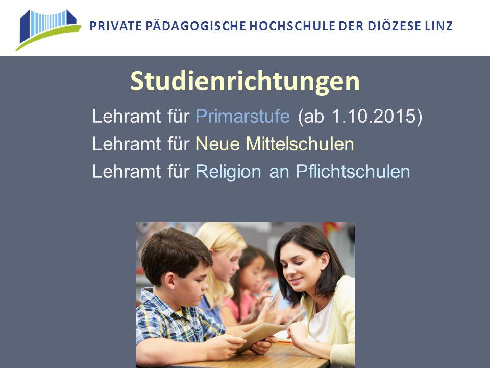 Studienrichtungen Lehramt für Primarstufe (ab 1.10.2015)