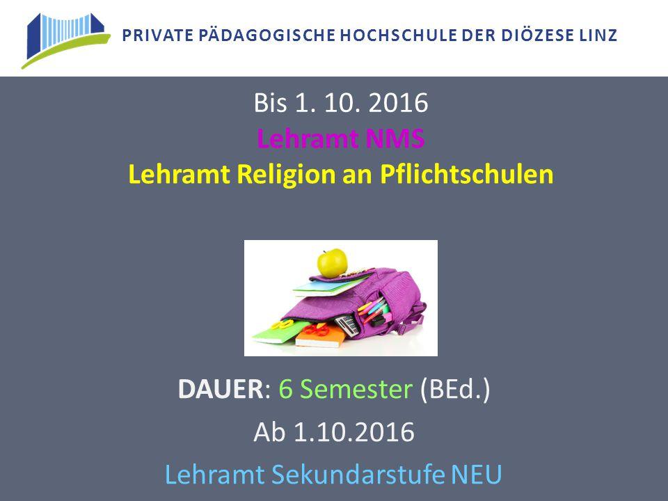 Lehramt NMS Lehramt Religion an Pflichtschulen