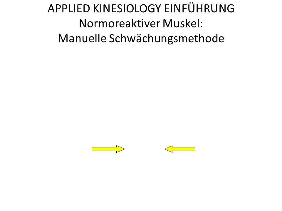 APPLIED KINESIOLOGY EINFÜHRUNG Normoreaktiver Muskel: Manuelle Schwächungsmethode
