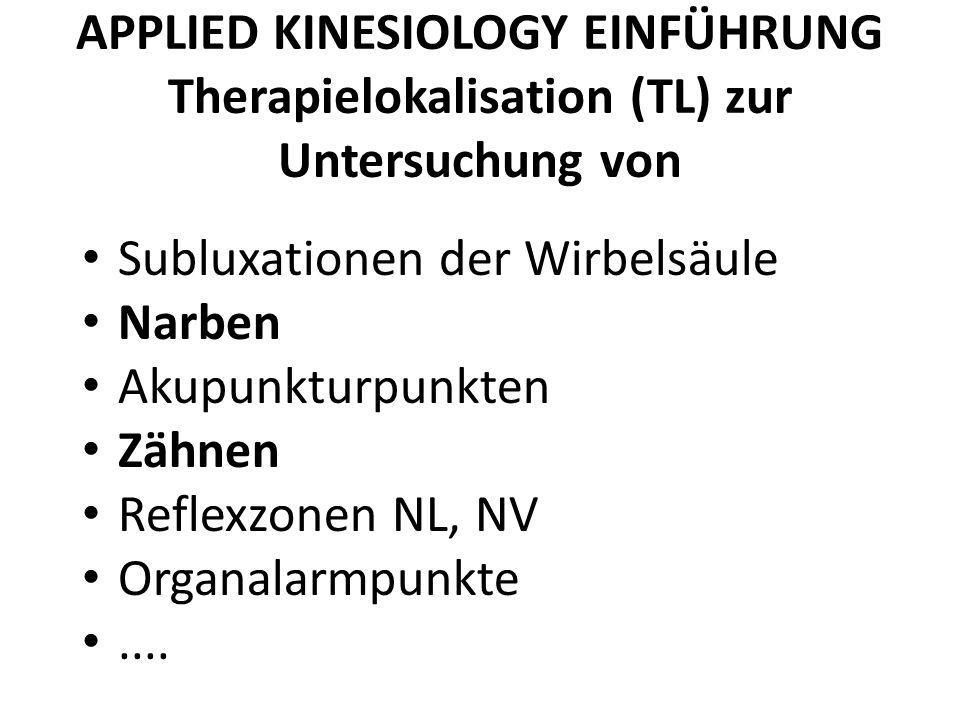APPLIED KINESIOLOGY EINFÜHRUNG Therapielokalisation (TL) zur Untersuchung von