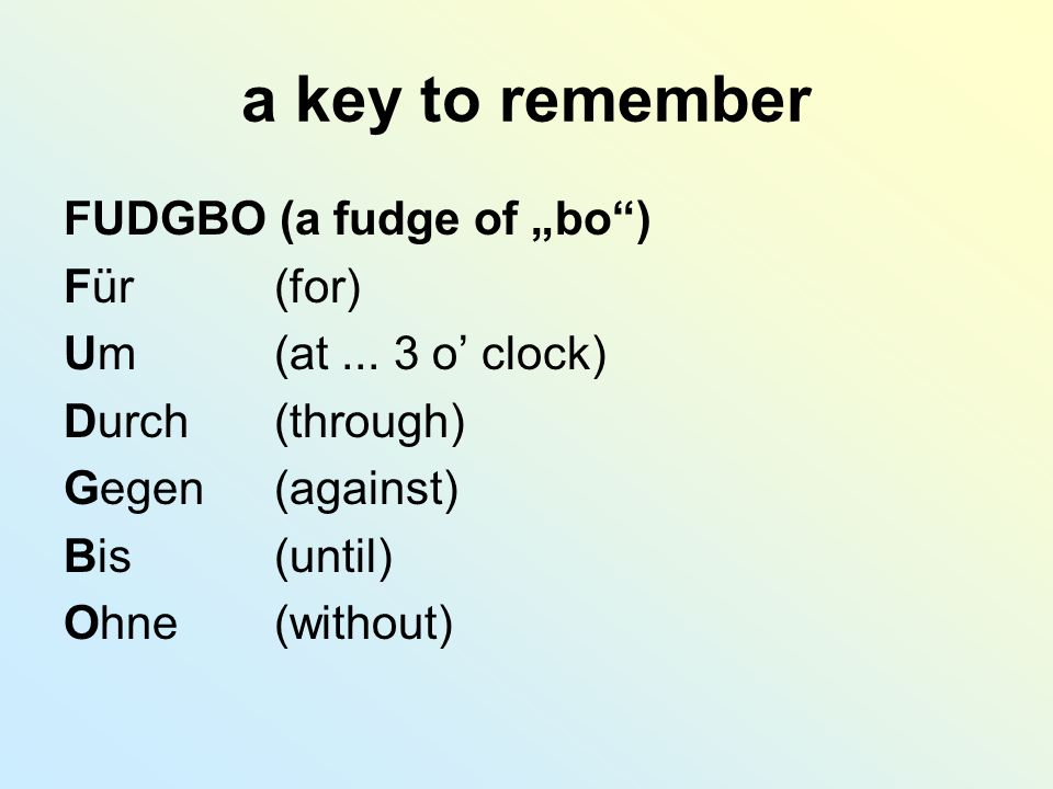 "a key to remember FUDGBO (a fudge of ""bo ) Für (for)"
