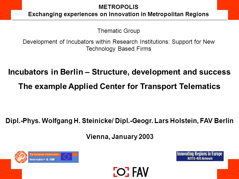 Exchanging experiences on Innovation in Metropolitan Regions