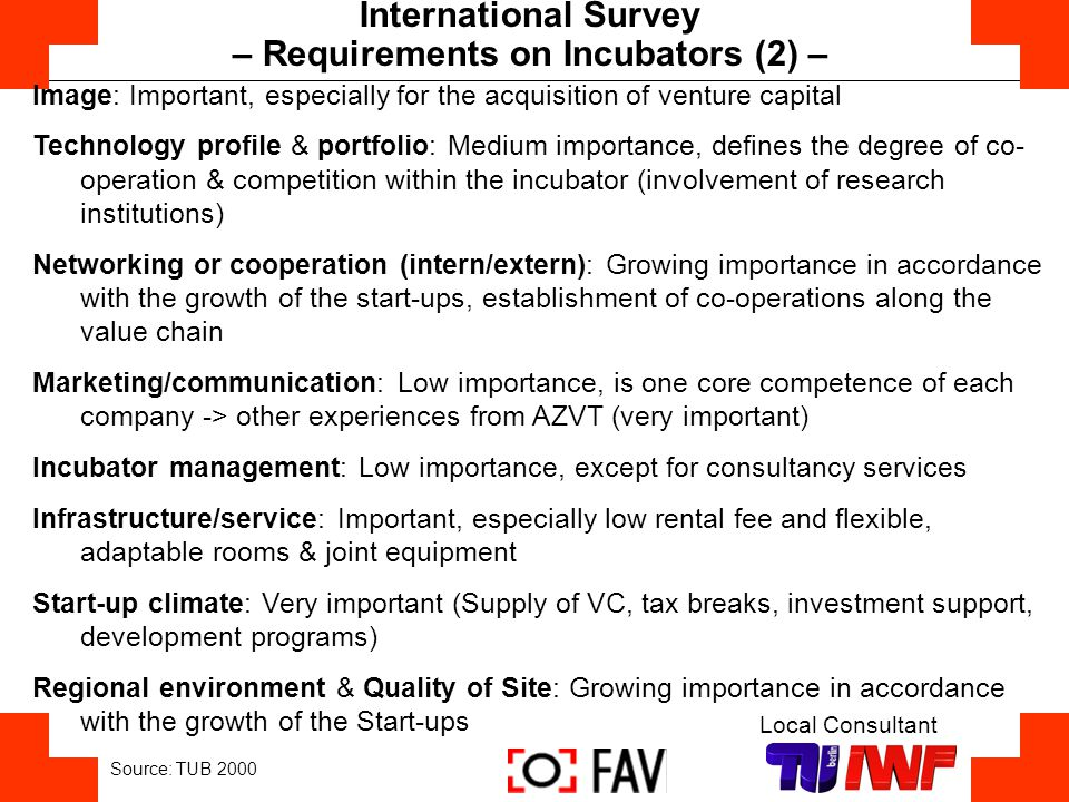 – Requirements on Incubators (2) –