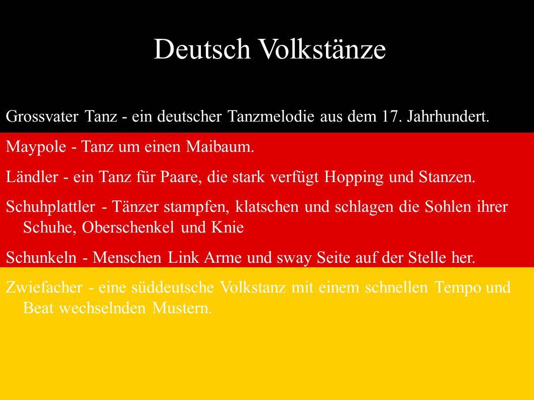 Deutsch Volkstänze Grossvater Tanz - ein deutscher Tanzmelodie aus dem 17. Jahrhundert. Maypole - Tanz um einen Maibaum.