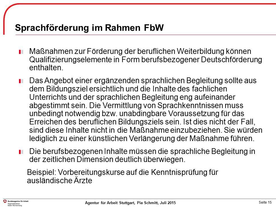 Sprachförderung im Rahmen FbW