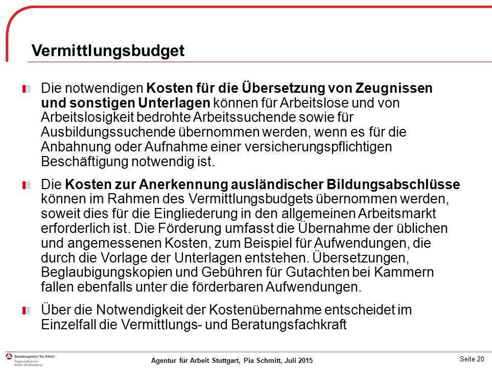 Vermittlungsbudget