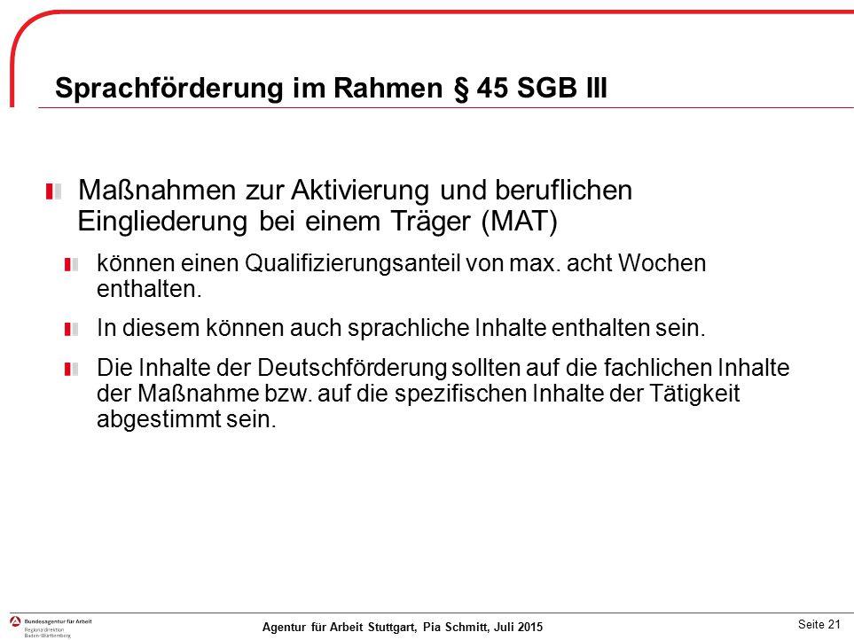 Sprachförderung im Rahmen § 45 SGB III