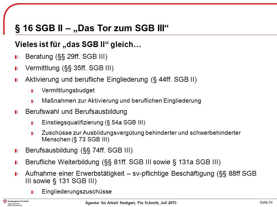 "§ 16 SGB II – ""Das Tor zum SGB III"