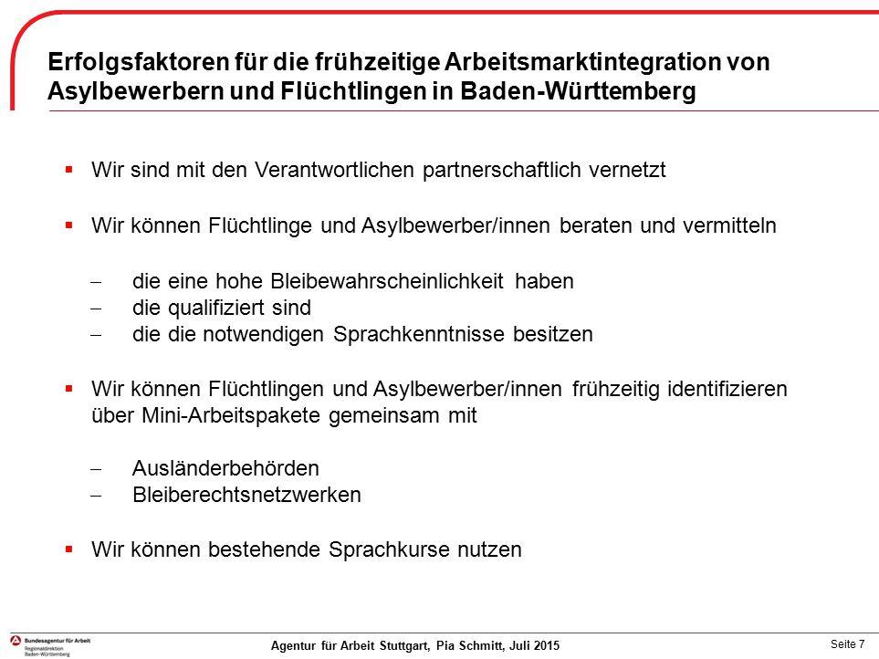 Erfolgsfaktoren für die frühzeitige Arbeitsmarktintegration von Asylbewerbern und Flüchtlingen in Baden-Württemberg