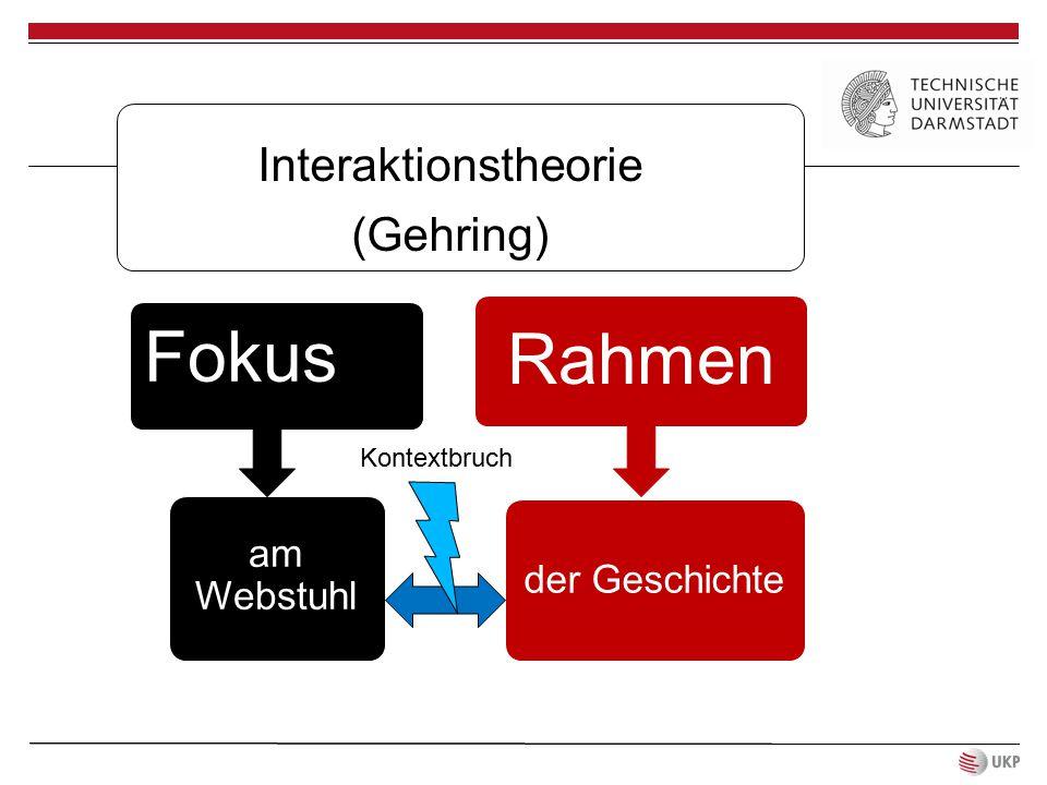 Fokus Rahmen Interaktionstheorie (Gehring) am Webstuhl der Geschichte