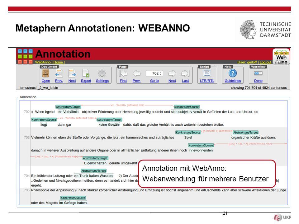 Metaphern Annotationen: WEBANNO