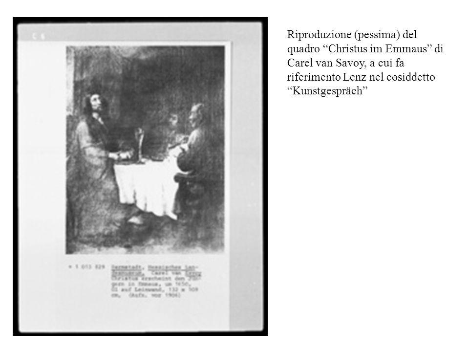 Riproduzione (pessima) del quadro Christus im Emmaus di Carel van Savoy, a cui fa riferimento Lenz nel cosiddetto Kunstgespräch