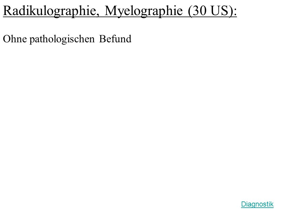 Radikulographie, Myelographie (30 US):