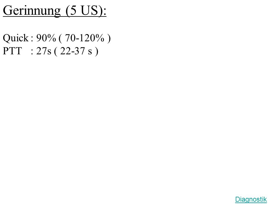 Gerinnung (5 US): Quick : 90% ( 70-120% ) PTT : 27s ( 22-37 s )