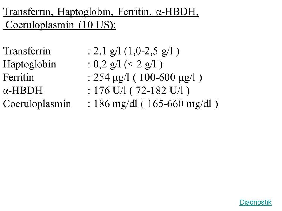 Transferrin, Haptoglobin, Ferritin, α-HBDH, Coeruloplasmin (10 US):