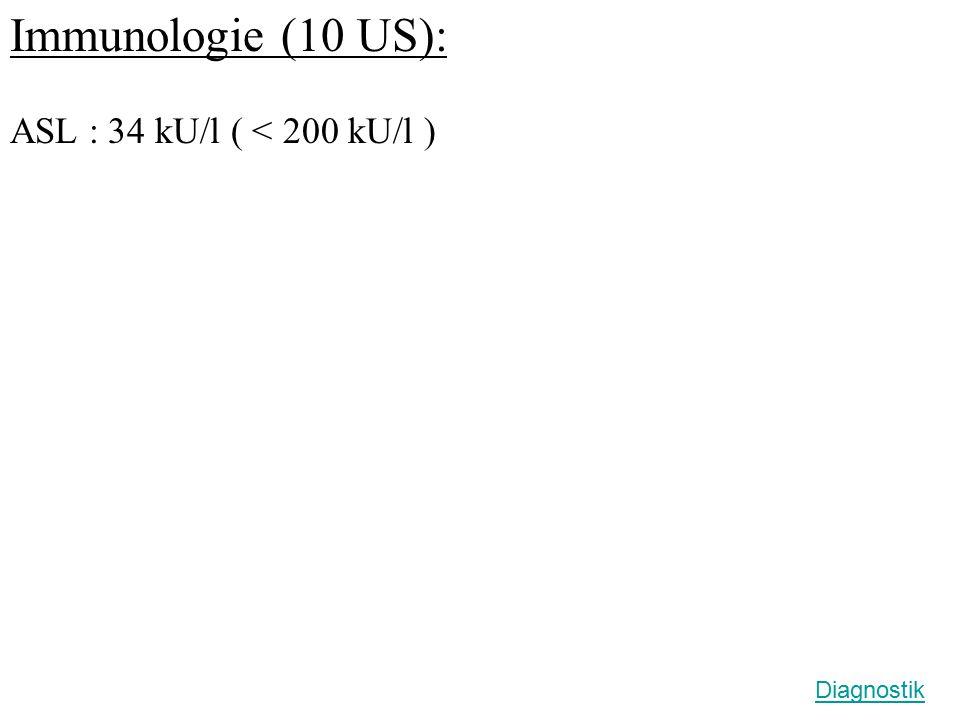 Immunologie (10 US): ASL : 34 kU/l ( < 200 kU/l ) Diagnostik