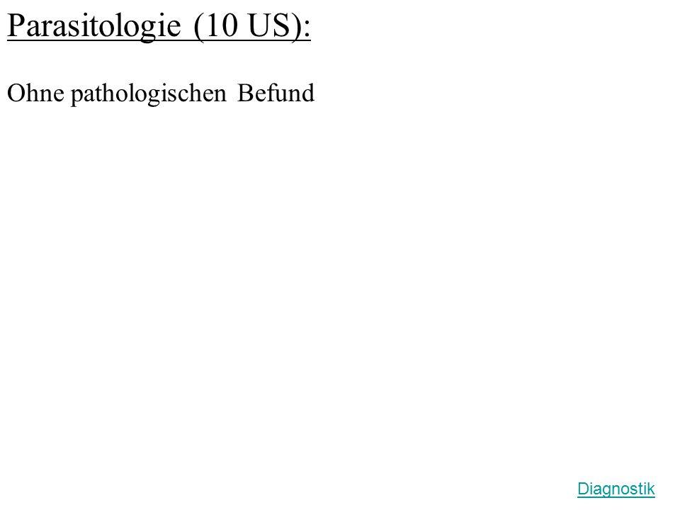 Parasitologie (10 US): Ohne pathologischen Befund Diagnostik