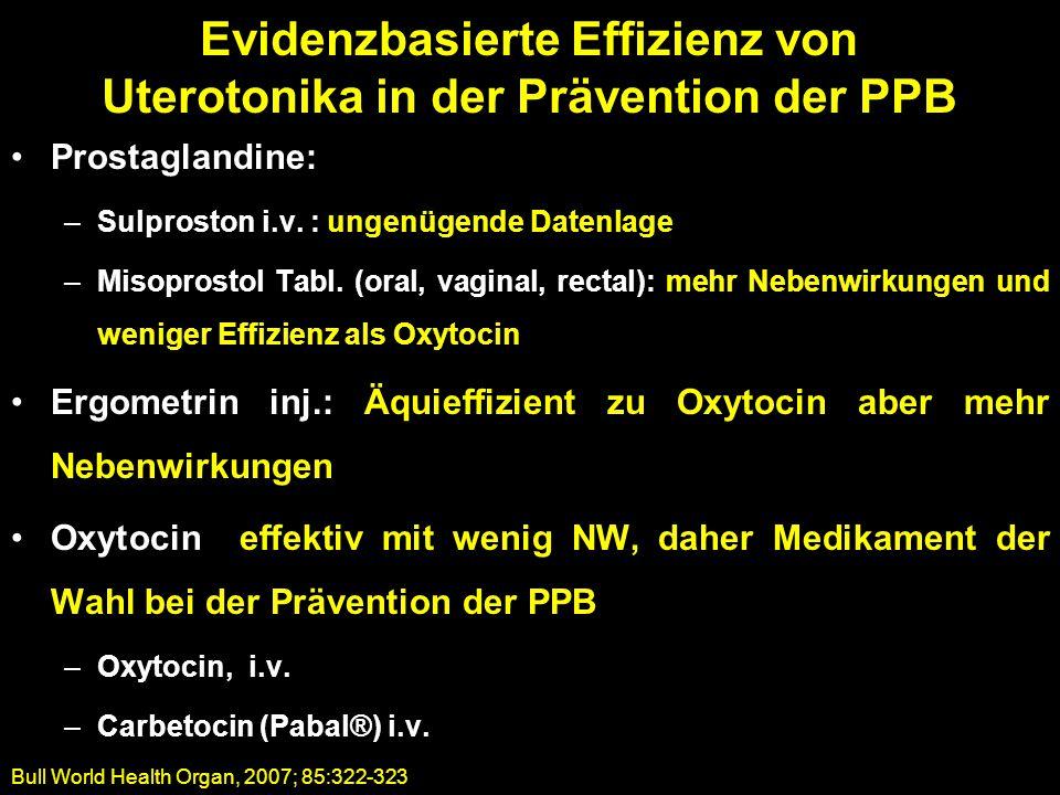 Evidenzbasierte Effizienz von Uterotonika in der Prävention der PPB