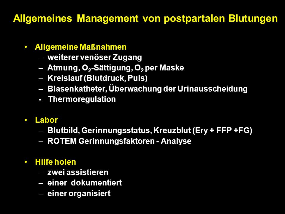 Allgemeines Management von postpartalen Blutungen