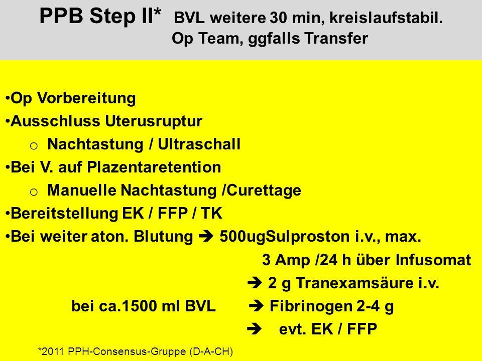 PPB Step II* BVL weitere 30 min, kreislaufstabil.