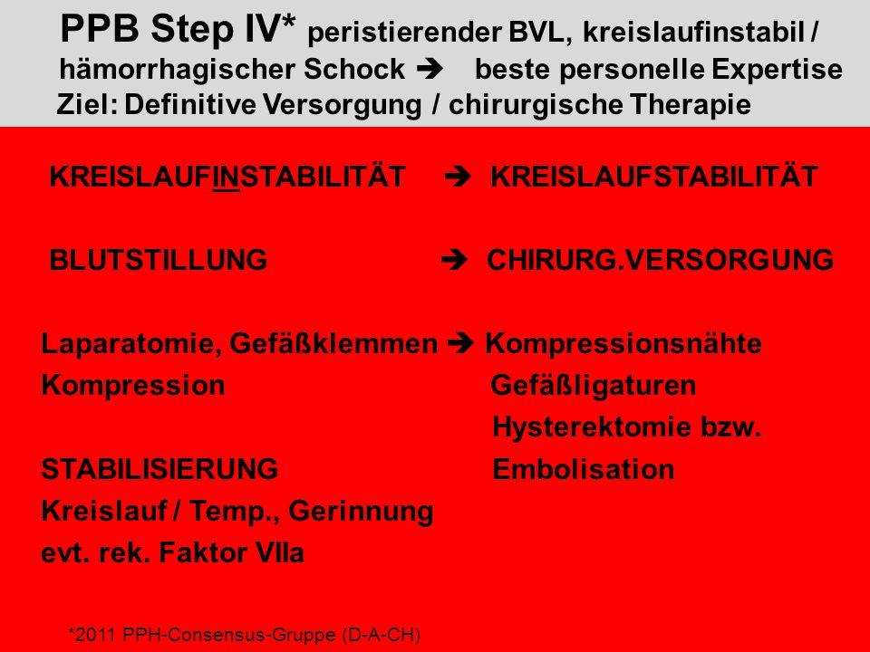 PPB Step IV. peristierender BVL, kreislaufinstabil /