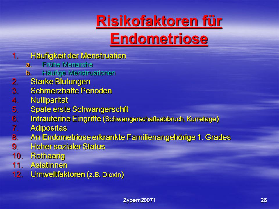 Risikofaktoren für Endometriose